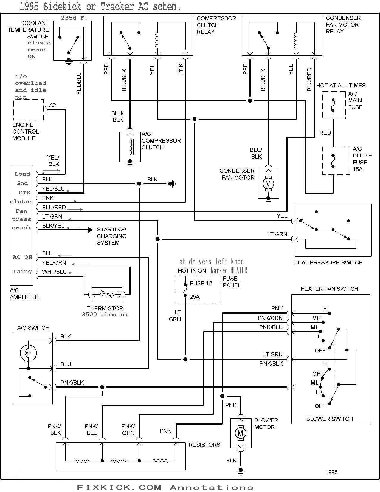 air conditioner repair here is the 95 schematic 95 uses freon r134a click below to zoom it 94 and newer look like below schematic the arrows pointing into amp are inputs