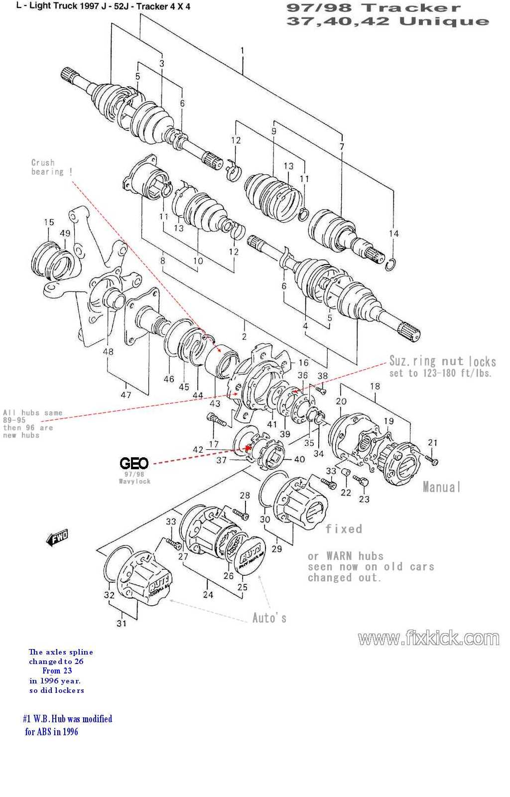 geo tracker parts diagram with Fw Bearings on Wiring Diagram For 1992 Geo Prizm moreover T23098371 2001 tracker transmission in addition 2000 Chevrolet Tracker 2 0l Manual 4wd Suv Wiring Diagrams in addition FW BEARINGS likewise 23373 Automatic Locking Hubs 3 Screw 1996 Rebuild.