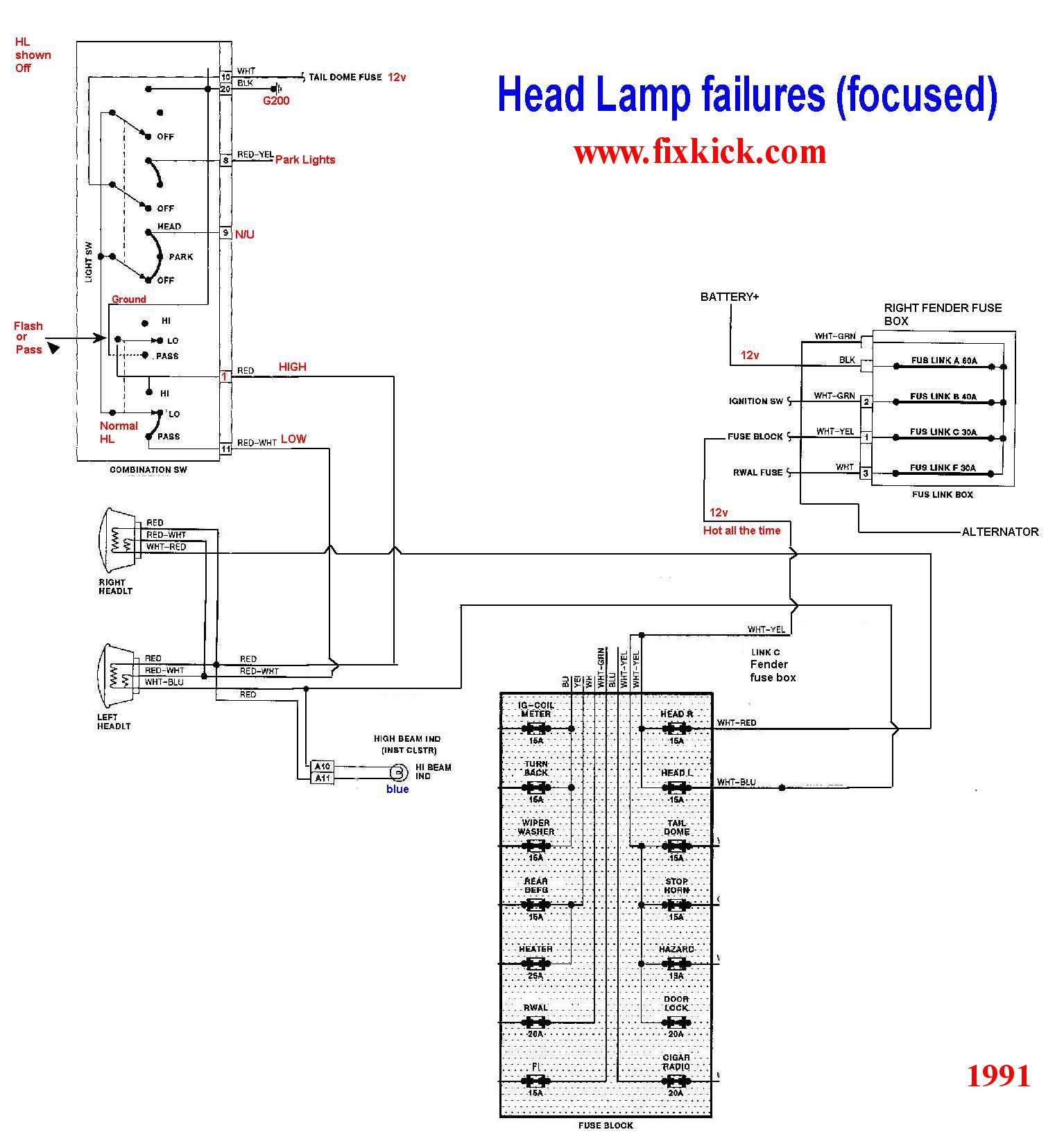 The 1991 unified Head light schematic, I made.