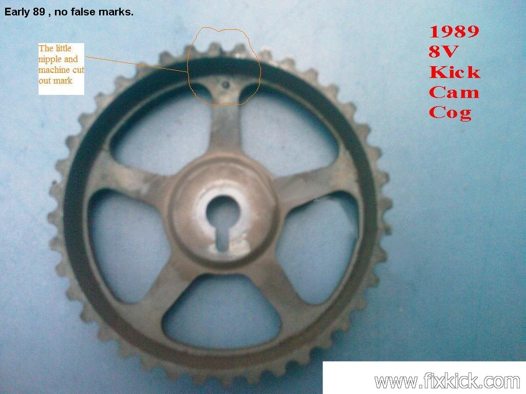( see the Generation 1 89/90' Sidekick Cam Wheel cog with no extra marks)