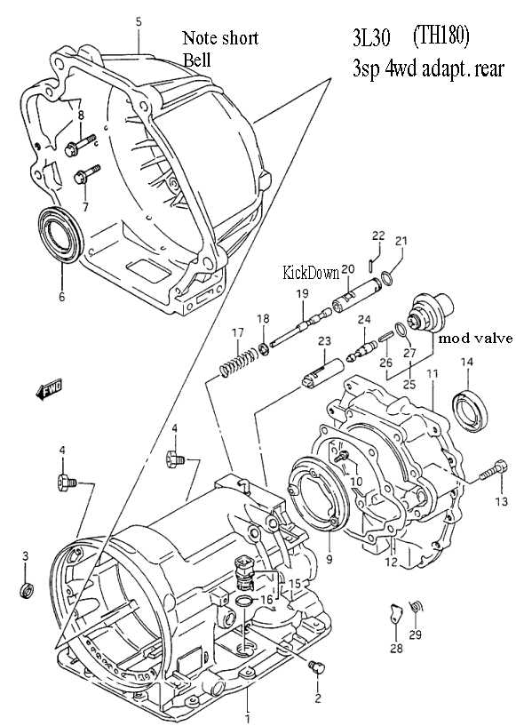 1994 Geo Prizm Transmission Parts Diagram